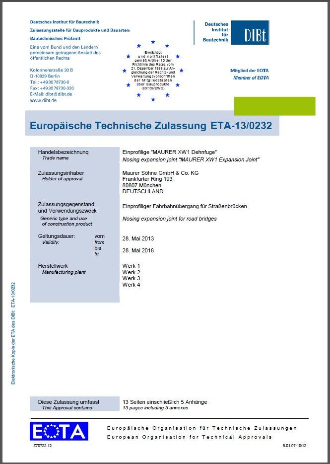 Deckblatt der neuen ETA-13/0232.