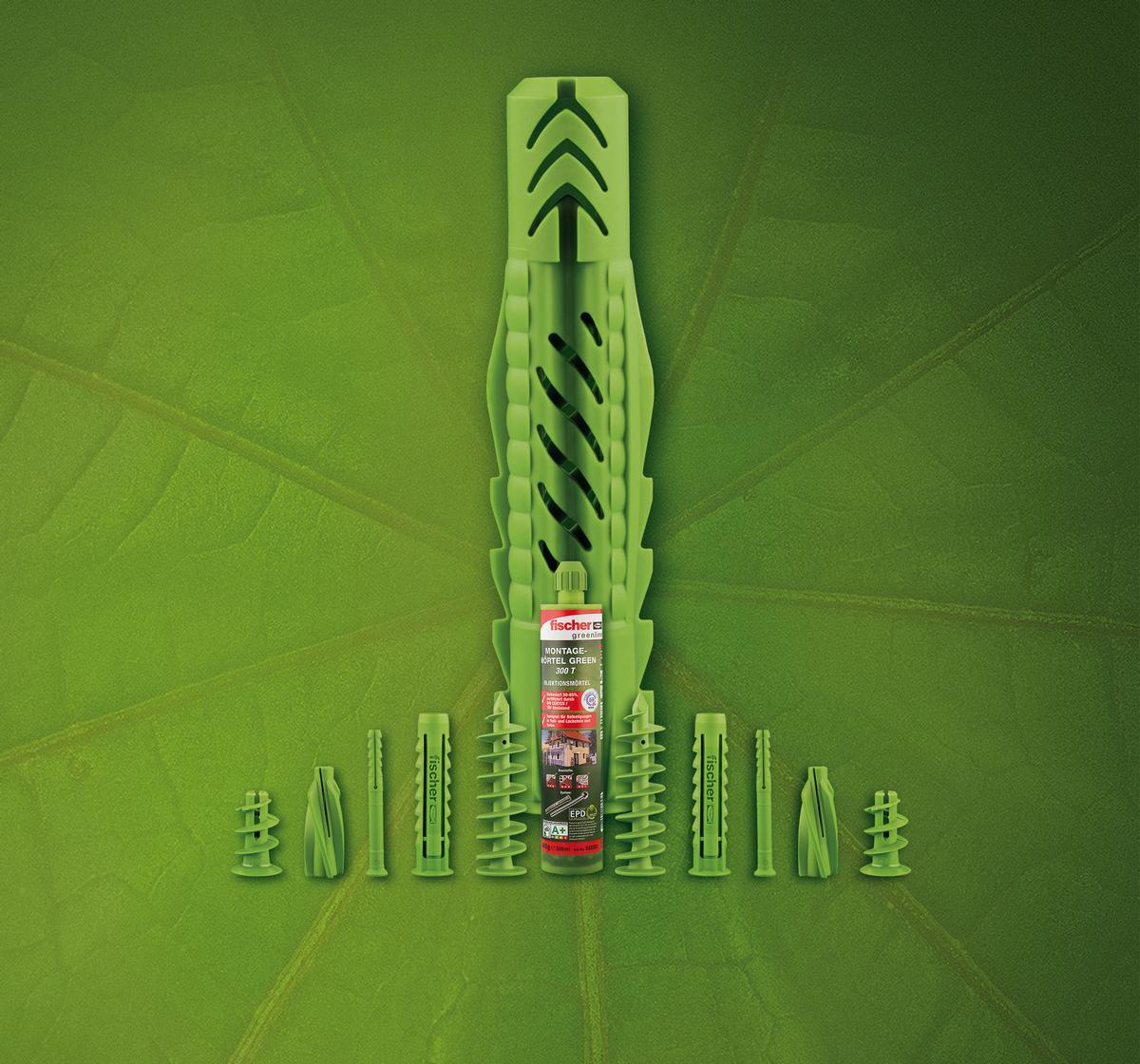 """Zur Sortimentseinführung """"greenline"""" bietet fischer sechs bewährte Dübeltypen als grüne Alternativen an: den Universaldübel UX GREEN, den Spreizdübel SX GREEN, den Gipskartondübel GK GREEN, den Nageldübel N GREEN, den Porenbetondübel GB GREEN und den Dämmstoffdübel FID GREEN."""