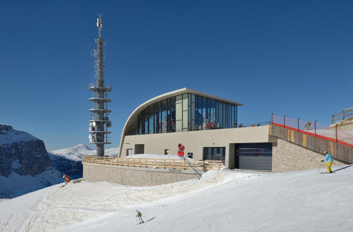 The new top station for the Dantercepies gondola lift, Wolkenstein in Gröden (Selva di Val Gardena), South Tyrol, Italy. The new top station for the Dantercepies gondola lift, Wolkenstein in Gröden (Selva di Val Gardena), South Tyrol, Italy.