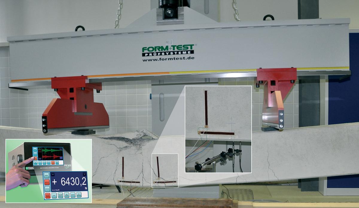 Peekel Instruments bietet: PICAS-Touch, die neuste Generation einer manuell und PC-gesteuerten Messtechnik für nahezu jeden Sensortyp sowohl im Versuchsfeld als auch beim Bauwerksmonitoring. Bildquelle: Baustofflabor an der Universität Siegen