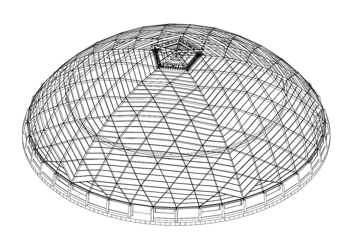 Haupt- und Sekundärtragwerk Kuppel