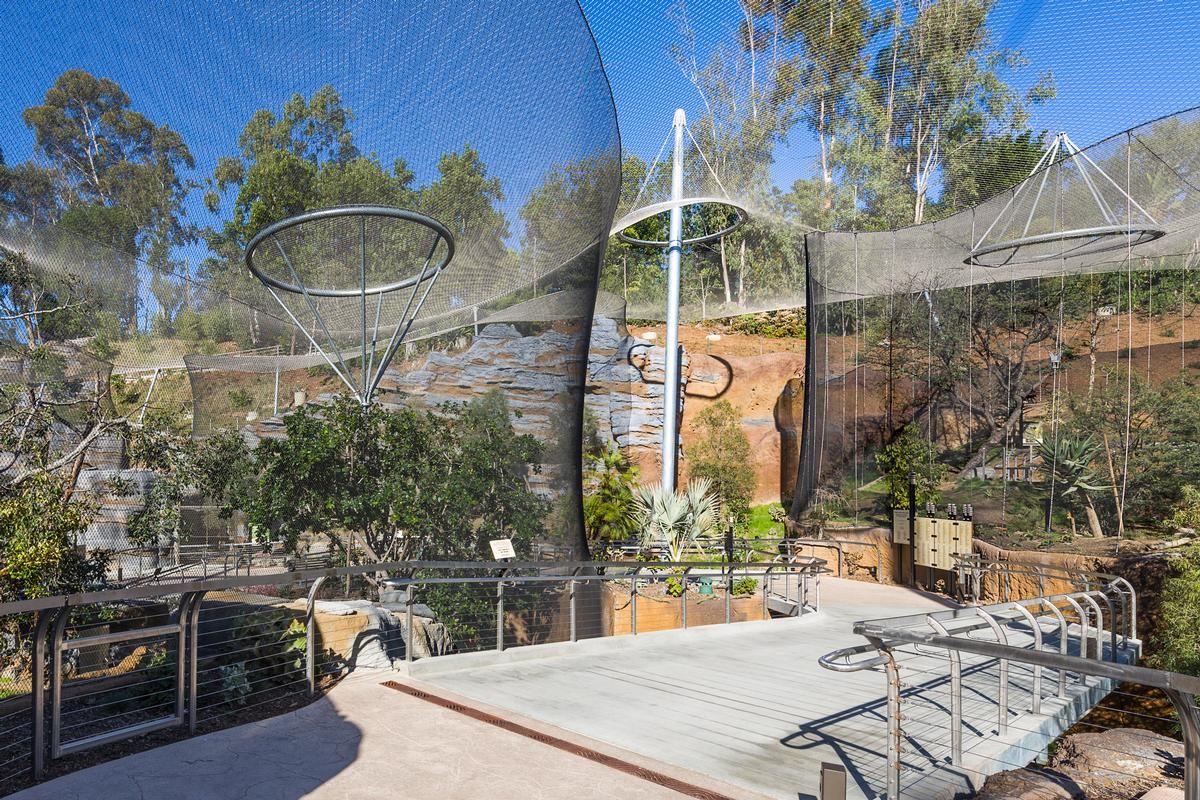Eine transparente Edelstahl-Seilnetzkonstruktion überspannt die Gehege der neuen Anlage Africa Rocks im Zoo von San Diego. Eine transparente Edelstahl-Seilnetzkonstruktion überspannt die Gehege der neuen Anlage Africa Rocks im Zoo von San Diego.