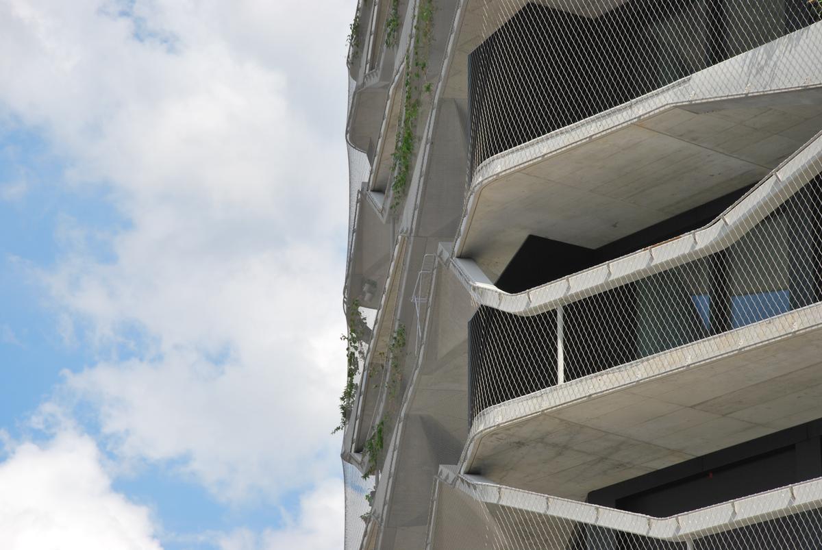 Filigrane Rankhilfe: Das Edelstahlseilnetz umspannt den Bau über seine gesamte Höhe. Filigrane Rankhilfe: Das Edelstahlseilnetz umspannt den Bau über seine gesamte Höhe.