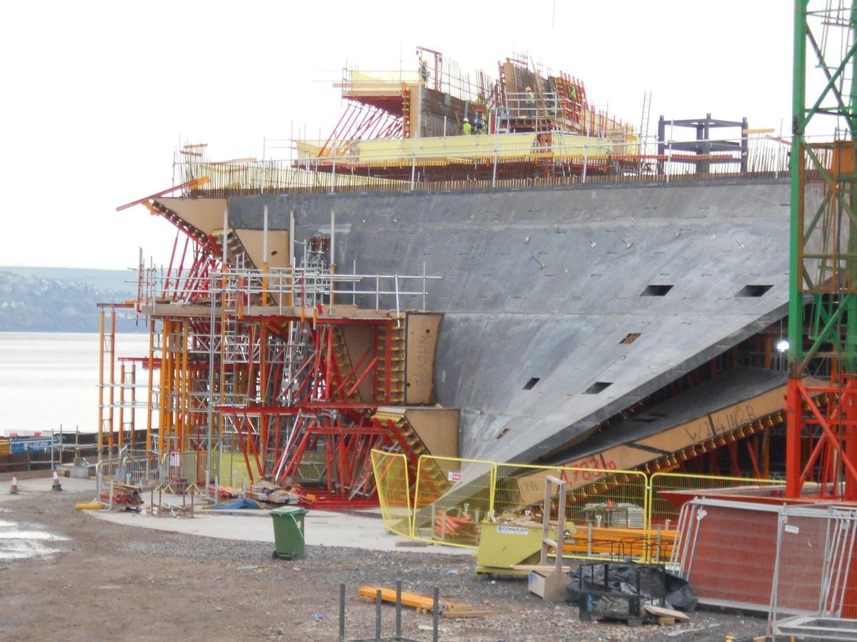 Das V&A Museum in Dundee während der Bauphase