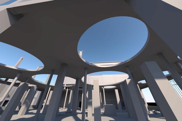 Sudhaus-Zwischendecke als CAD-Visualisierung