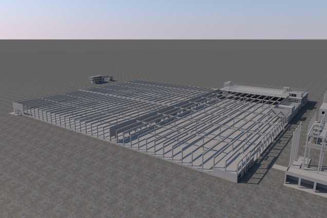 Lager- und Abfüllgebäude (CAD-Visualisierung)