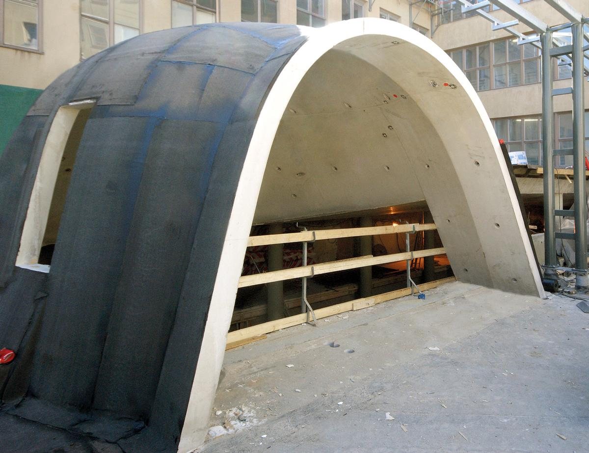 The dome of the new entrance to the Sibelius Academy after the concreting work