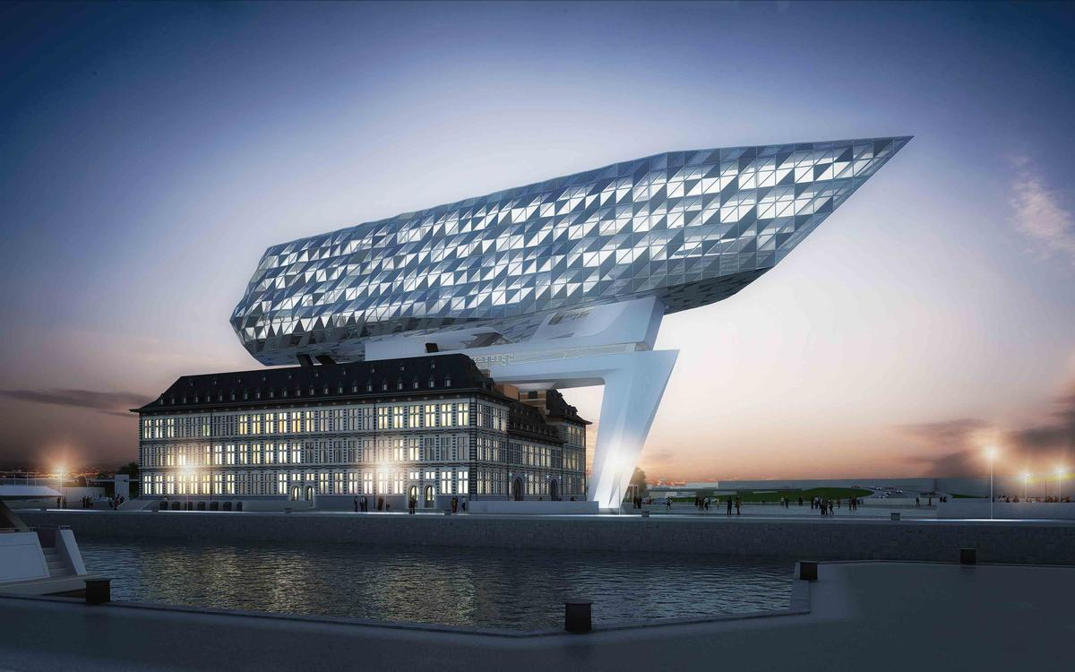 Media File No. 243297 With its light reflections, the new head office of the port authority, the New Port House designed by Zaha Hadid Architects, pays homage to Antwerp as the centre of the diamond trade.