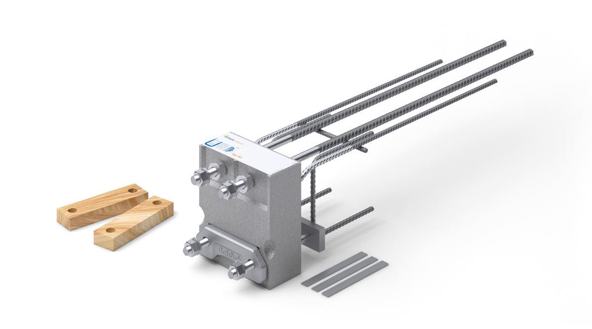 Der Schöck Isokorb Typ KS ist ein tragendes Wärmedämmelement für den Anschluss von frei auskragenden Stahlträgern an Stahlbetonbauteilen.