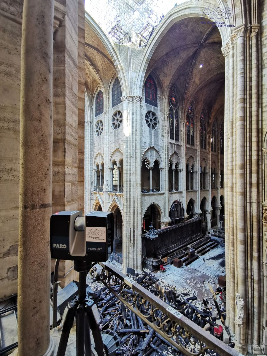 Image No. 323271 As an immediate measure after the fire, Notre-Dame was detected with laser scanners and a drone.