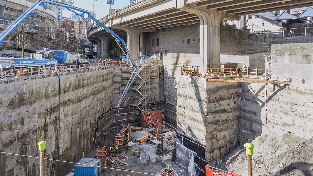 The three piers of the Georgia Viaduct were stabilized by installing 12 micropiles