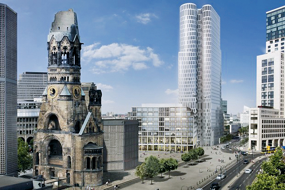 This is how it should look like: The Upper West (centre) next to the Waldorf Astoria and behind the Kaiser Wilhelm Memorial Church. This is how it should look like: The Upper West (centre) next to the Waldorf Astoria and behind the Kaiser Wilhelm Memorial Church.