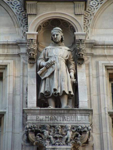 Pierre de Montreuil. Statue se trouvant sur la façade de l'Hôtel de ville de Paris