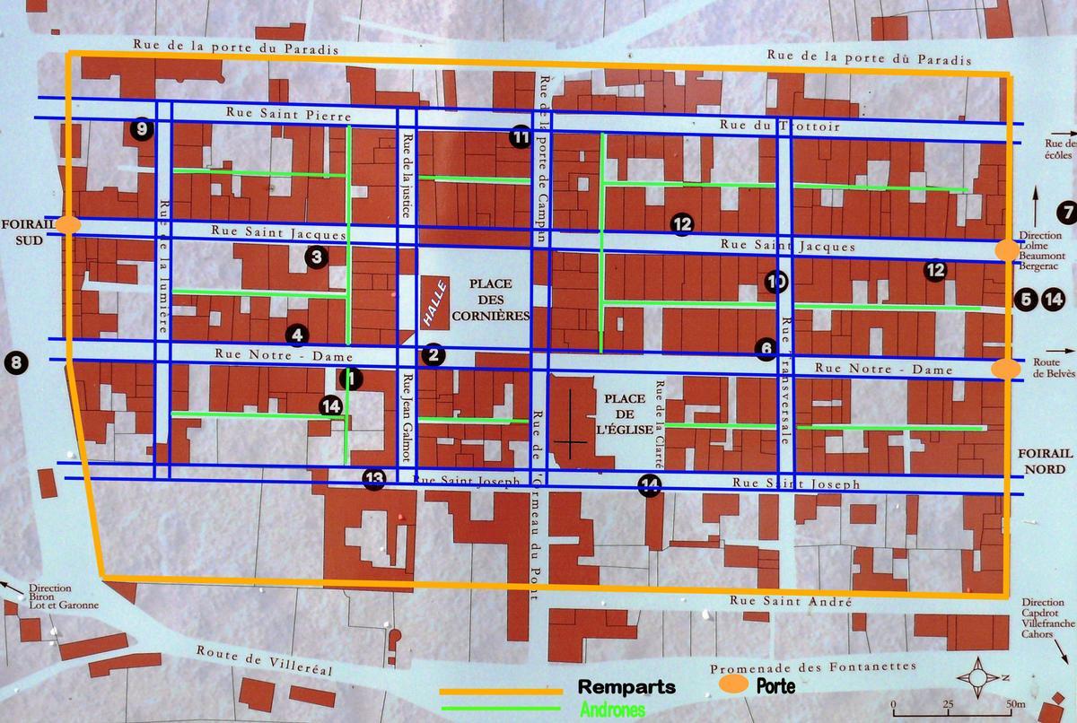 Bastide de Monpazier - Plan de principe du parcellaire (remparts, portes, rues, andrones)