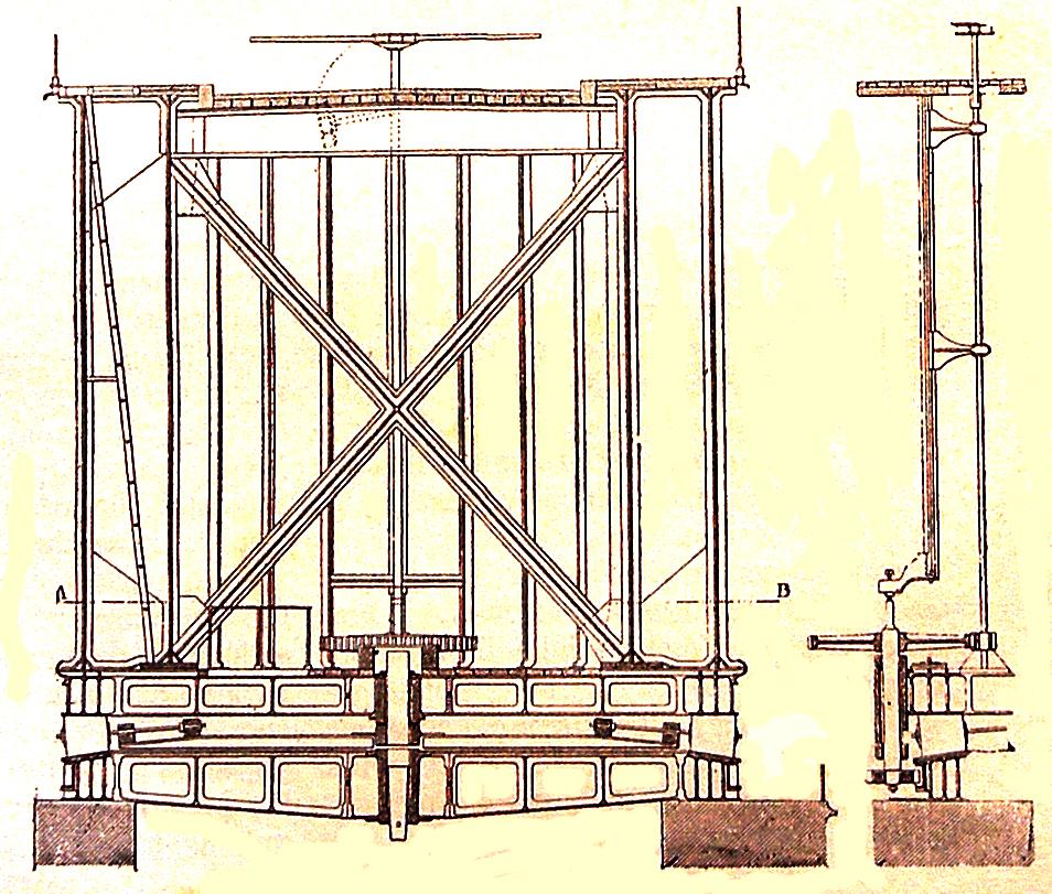 Image no. 76193 Brest - Pont National - Dessin dans le livre de Chaix sur les ponts - Coupe transversale sur pile