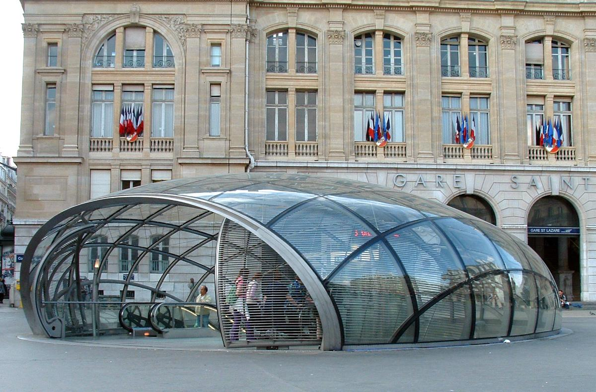Paris Metro Saint-Lazare Station. New entry