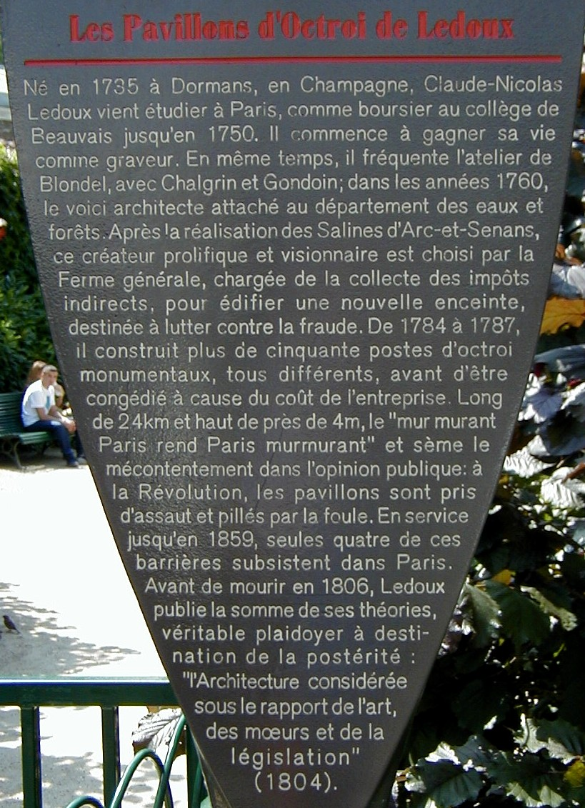 Mur des Fermiers généraux, ParisInformation plaque
