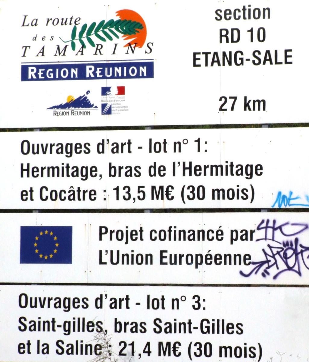 Route des Tamarins - Viaducs de la ravine Hermitage, Bras-de-l'Hermitage, Saint-Gilles, Bras-Saint-Gilles et Saline