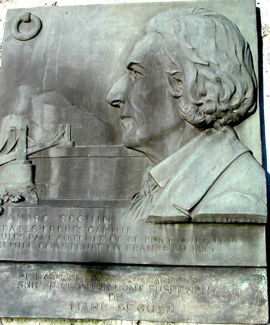 Tournon-sur-Rhône Commemorative plaque for the first bridge of Marc Seguin