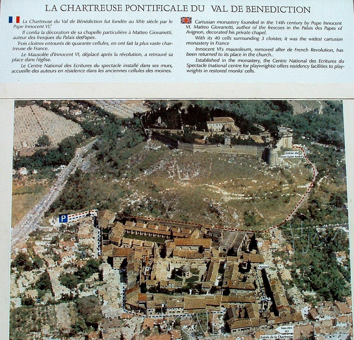 Chartreuse du Val-de-Bénédiction, Villeneuve-lès-Avignon.  Panneau d'information