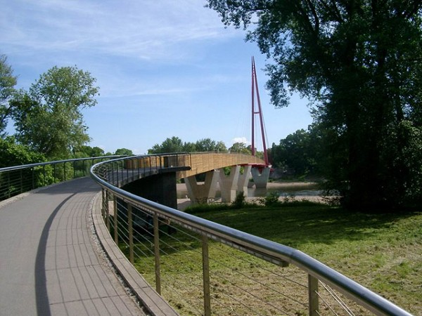 Footbridge at the Cracow Waterfall in Magdeburg