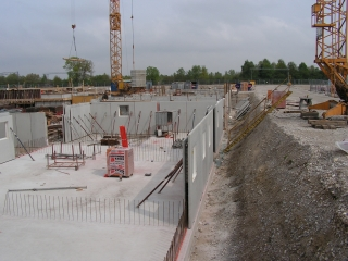 Weise Wanne - in diesen Bauverfahren wurden Im HaidPark in München wurden mehrere Basisgeschosse als Weise Wannen aus El