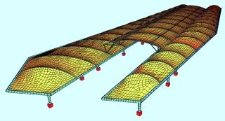 Systembild Statik ZOB mit Netzlinien von oben (Fotos/Grafik: Ingenieurbüro für Membranbau & Tragwerksplanung)