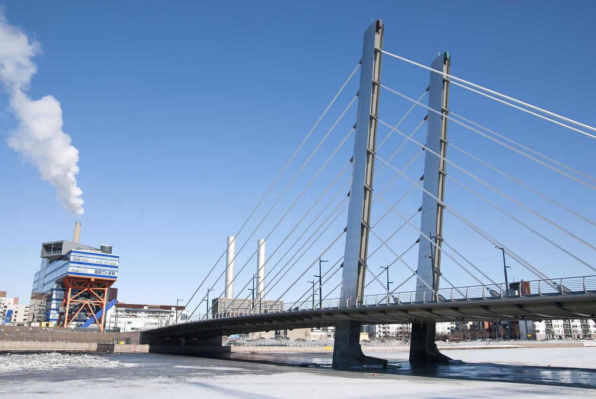 The first bridge to be built making extensive use of BIM - The recently completed Crusell cable-stayed bridge in Helsinki