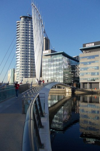 The bridge provides a practical, yet visually stunning, gateway and landmark structure in the centre of the MediaCityUK development