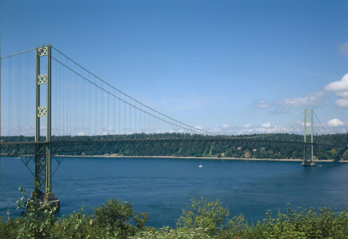 "Tacoma Narrows bridge in perspective looking West from the ""millers addition"" subdivision (HAER WA-99-36-CT)"