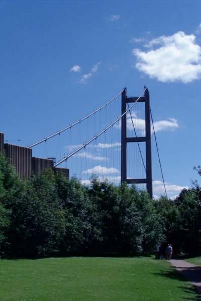 Humber Bridge seen from adjacent park
