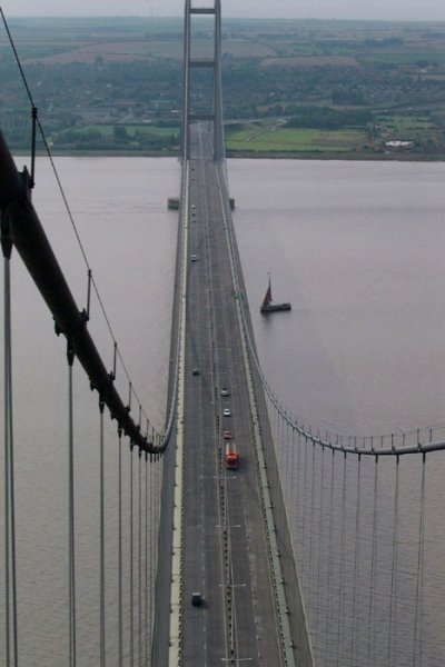 View onto the deck of Humber Bridge from one of the towers