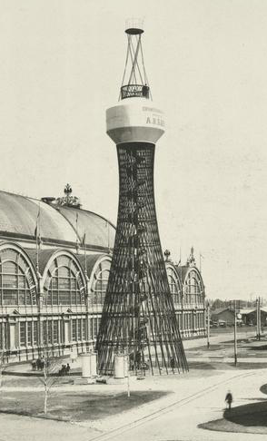 Media File No. 111864 Hyperboloid water tower - the world's first steel tensile structure by the Russian engineer and scientist Vladimir Shukhov (1853-1939) in 1896. The All-Russia industrial and art exhibition 1896 in Nizhny Novgorod
