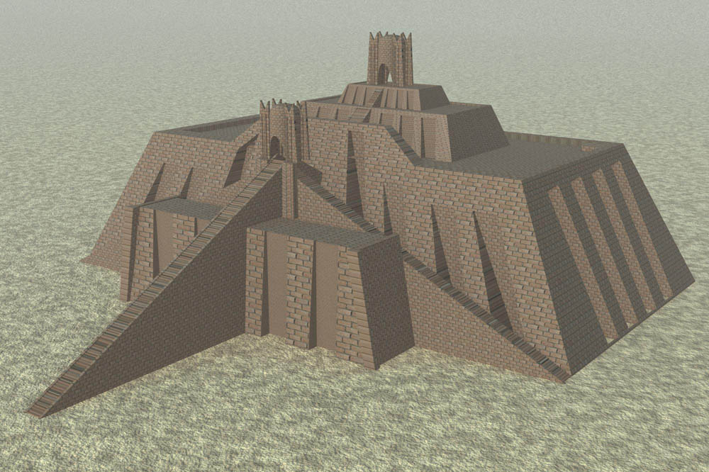 Reconstruction of the Ziggurat of Ur based on a 1939 drawing by Leonard Woolley, Ur Excavations, Volume V. The Ziggurat and its Surroundings, Figure 1.4