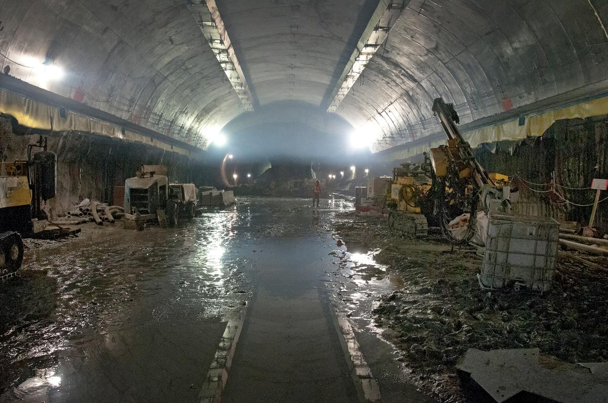 View of construction of a newly built concourse underneath the existing lower level of Grand Central Terminal, New York City. The East Side Access project of the Metropolitan Transportation Authority (New York) is connecting the Long Island Rail Road to the new concourse